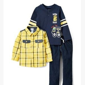 Navy and Yellow Born 2 Truck 3 Piece Set Size 5